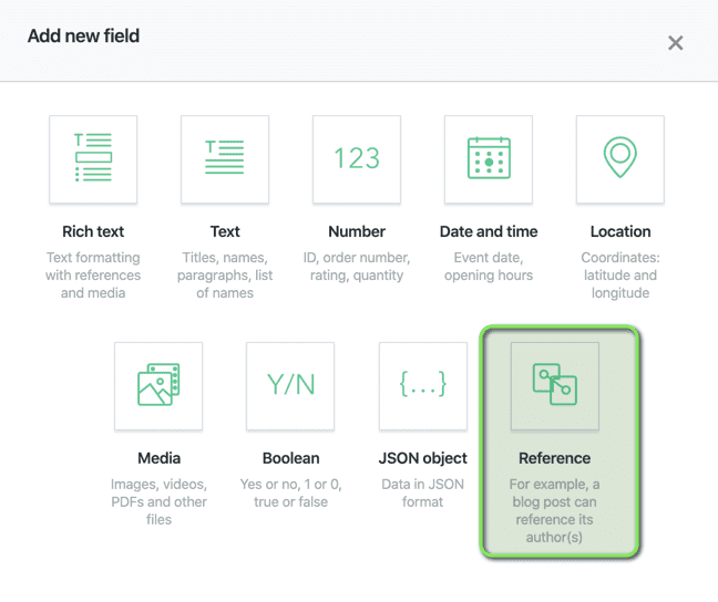 Contentful Create Content Reference Field
