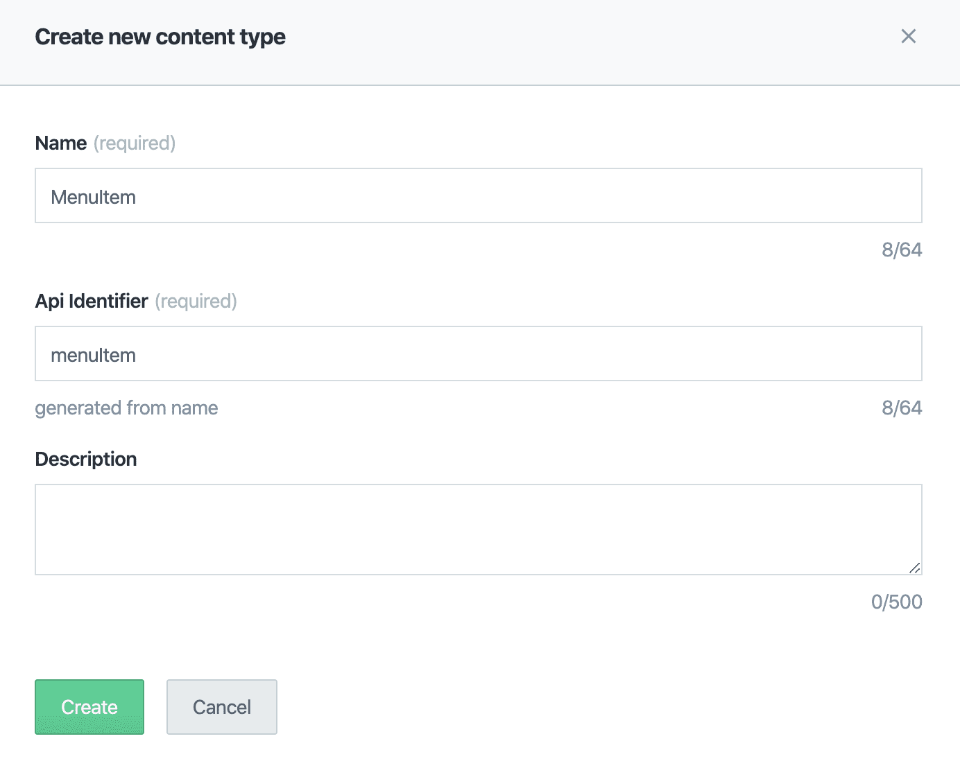 Contentful Create Content Type